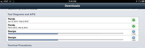 ForeFlight Download Status