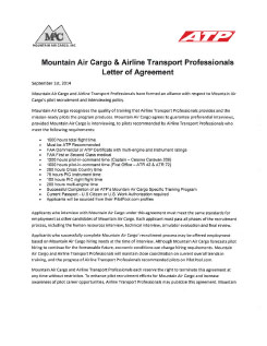 Mountain Air Cargo Hiring Agreement with ATP Flight School