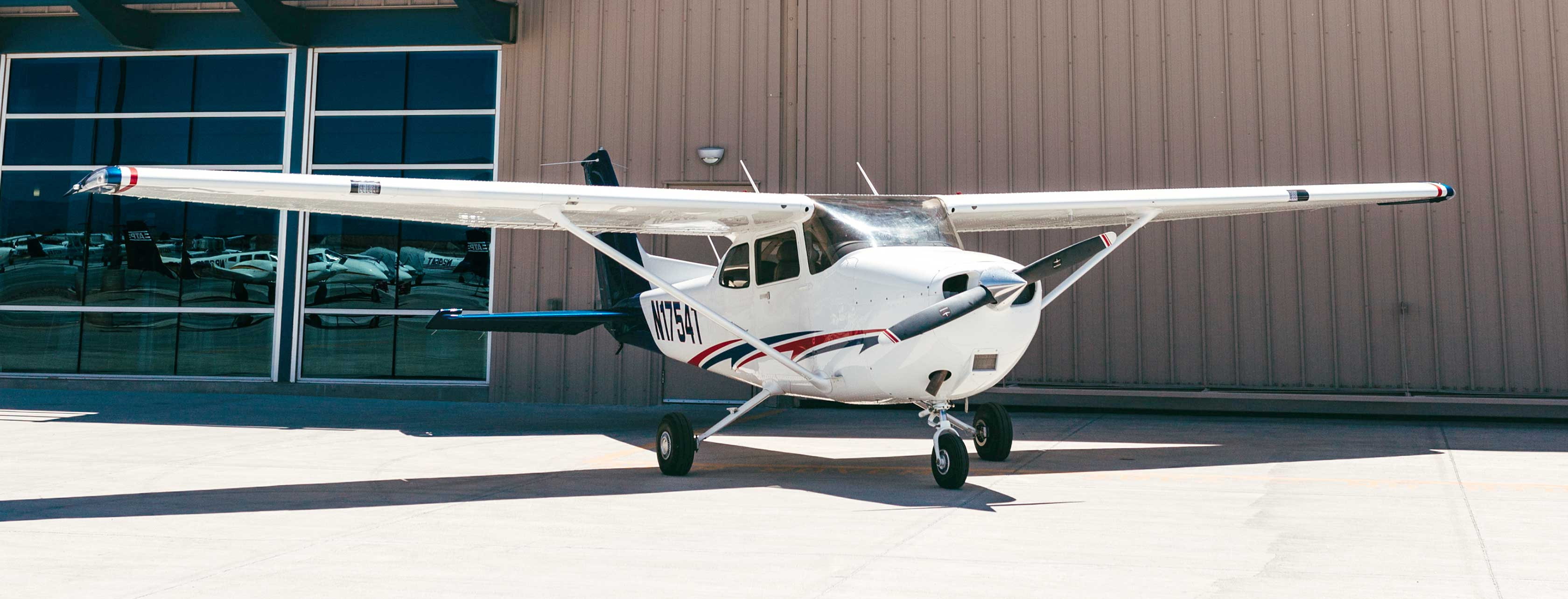 Cessna 172 sitting on the ground